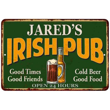 JARED'S Irish Pub Personalized Beer Metal Sign Bar Decor 8x12 108120013229