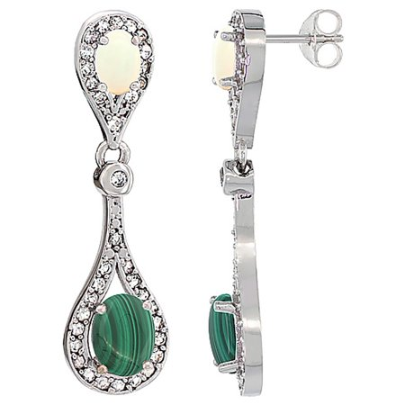 Malachite White Earrings (14K White Gold Natural Malachite & Opal Oval Dangling Earrings White Sapphire & Diamond Accents, 1 3/8 inches long)