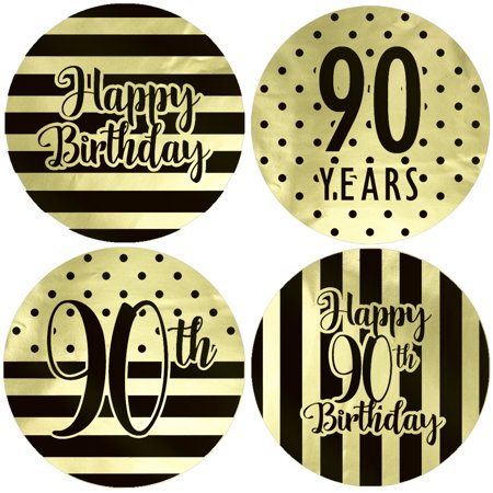 Gold Foil 90th Birthday Favor Labels 40ct - Black and Gold Stripe and Polka Dot Birthday Party Supplies - 40 Count Stickers (1 3/4 - 40 Party Supplies
