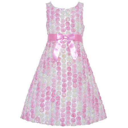 Big Girl Tween 7-16 Ombre Bonaz Rosette Taffeta Fit Flare Social - Tween Designer Dresses