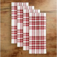 4-Pack Mainstays Holiday Cream Plaid Kitchen Towels