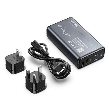 BESTEK Universal Travel Adapter Converter for Hair Straightener/Curler, Step Down 100-240V to 110V Power Converter with Fast USB for UK/France/Italy European Asia etc (Grey-Black) ()