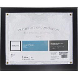 "Realspace™ Award Plaque, 8-1/2"" x 11"", Black"