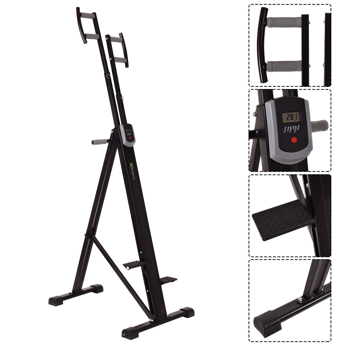 GHP 264Lbs Capacity Black Exercise Workout Vertical Climb...