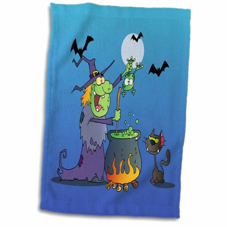 3dRose Funny Crazy Witch Preparing a Potion With a Frog In a Cauldron Silly Halloween Holiday Cartoon - Towel, 15 by 22-inch](Halloween Cartoon Cauldron)