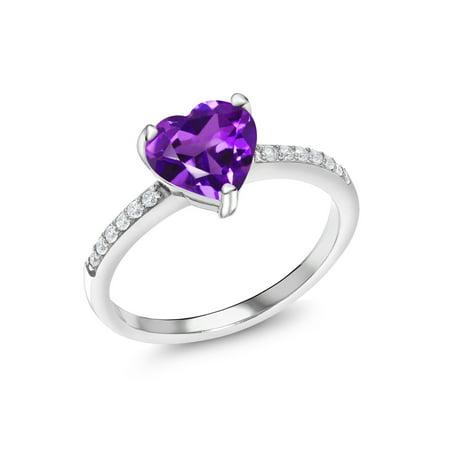 1.54 Ct Heart Shape Purple Amethyst 925 Sterling Silver Ring