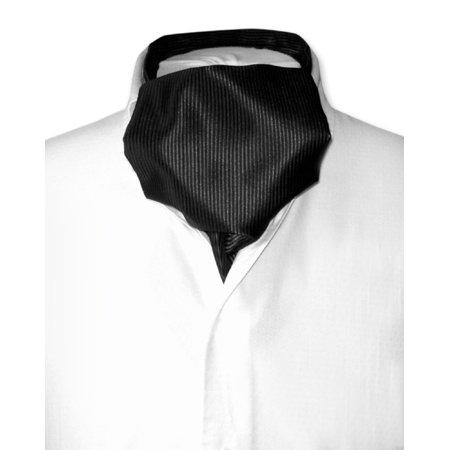 Antonio Ricci ASCOT Solid BLACK Ribbed Pattern Color Cravat Men's Neck Tie