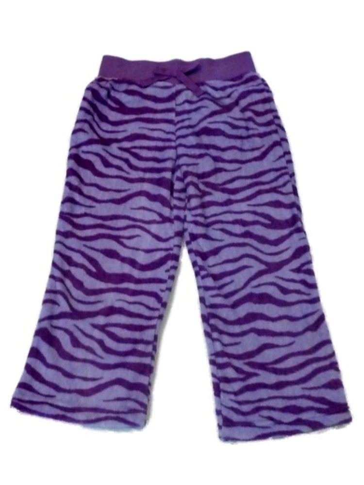 Jellifish Girls Purple Fleece Zebra Stripe Sleep Pants Pajama Bottoms Lounge
