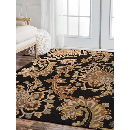 - Rugsotic Carpets Hand Tufted Wool 3'x5' Area Rug Floral Black K00151