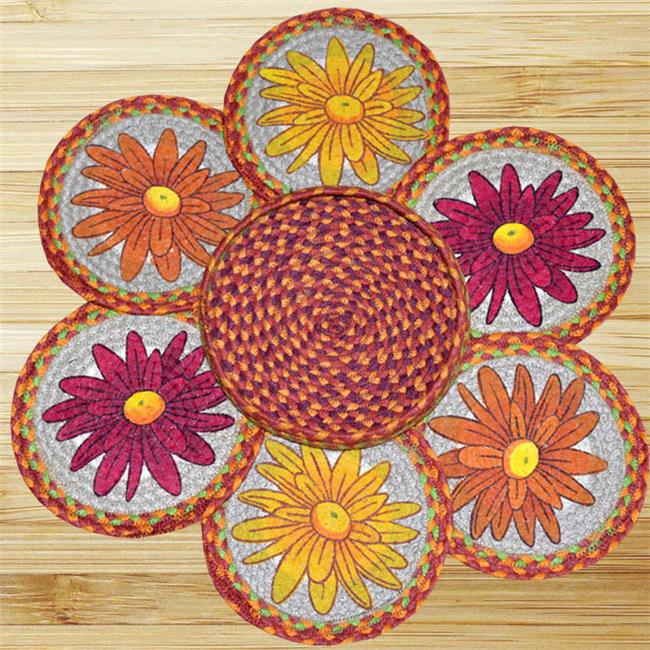 Earth Rugs 56-385M Mums Trivets in a Basket
