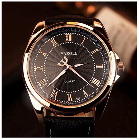 Men's Fashion Business Watch Quartz Analog Roman Numeral Scale Wrist Watch Casual Wristwatch