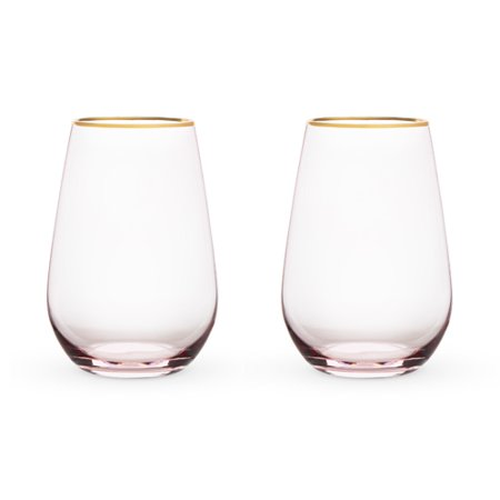 Garden Party: Rose Crystal Stemless Wine Glass Set by Twine - Wine Glass Party