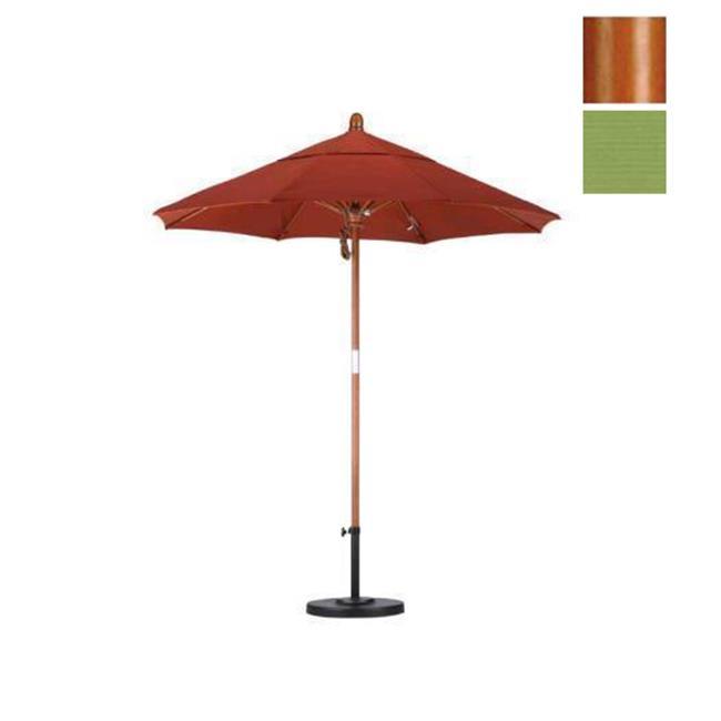 California Umbrella WOFA758-SA21 7. 5 ft.  Fiberglass Market Umbrella Pulley Open - Marenti Wood-Pacifica-Palm