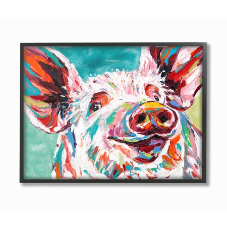The Stupell Home Decor Collection Brightly Painted Pig Framed Giclee Texturized Art, 11 x 1.5 x 14 for $<!---->