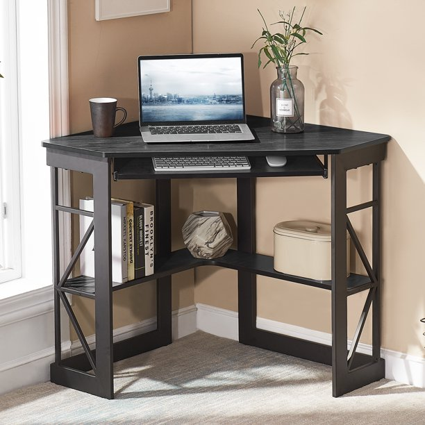 VECELO Corner Desk with Keyboard Tray and Storage Shelves, Corner