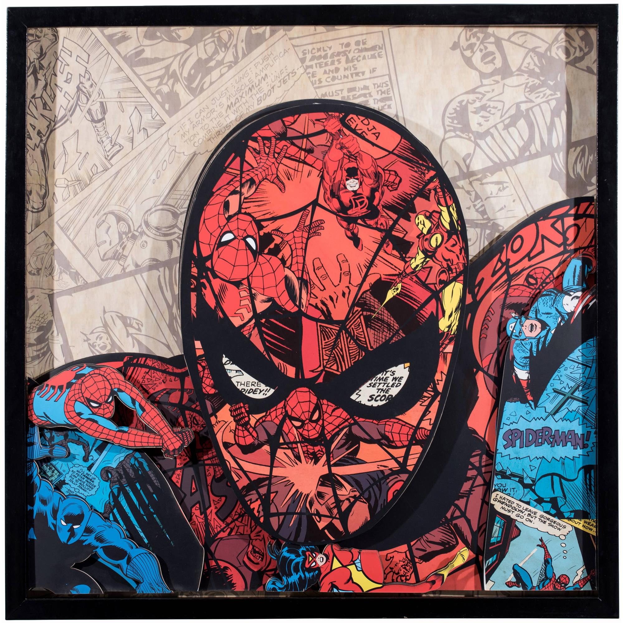 Marvel Comics Spider-Man Handmade Collage in Shadowbox Frame Wall Art