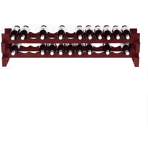 Wine Enthusiast 26-Bottle Horizontal Stackable Hardwood Wine Rack, Mahogany