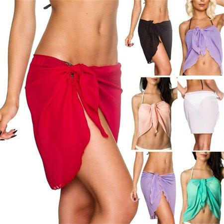 Mini Sarongs New Sheer Fine Chiffon Short Length Sarong Wrap Swimwear Cover Ups