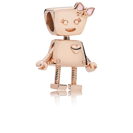 Pandora Girl robot charm in Rose w/transparent pale pink enamel Charm