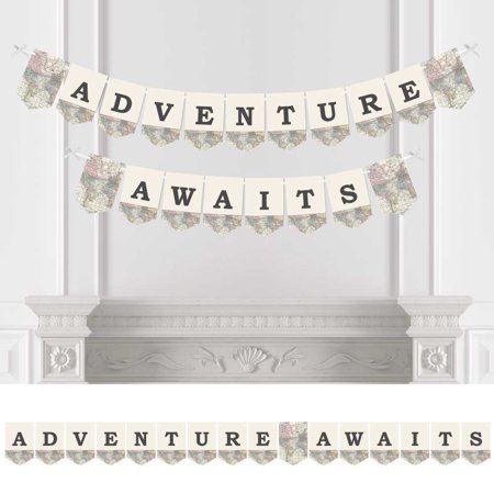 World Awaits - Travel Themed Party Bunting Banner - Map Party Decorations - Adventure Awaits - Travel Themed Party Decorations
