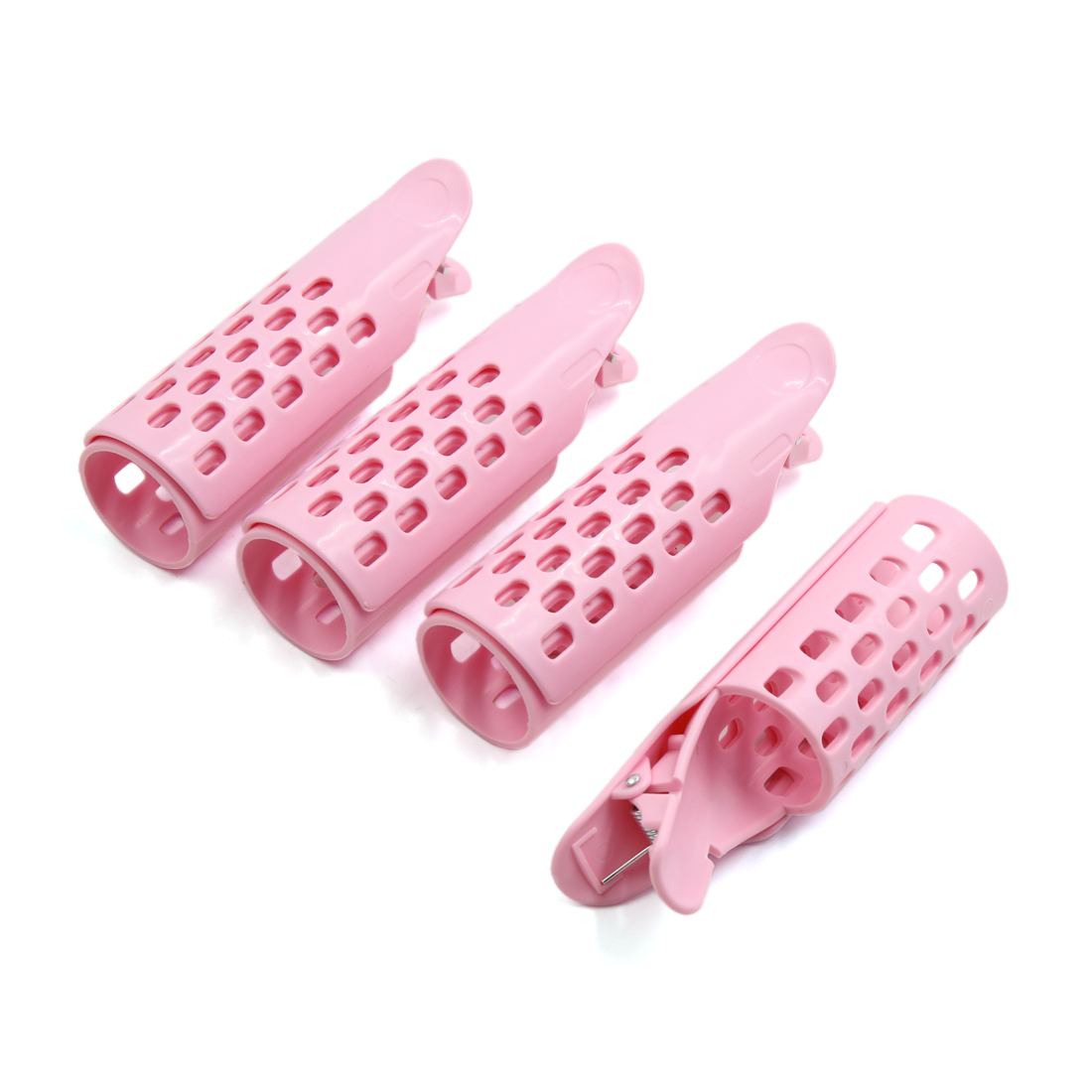 4 Pcs Pink Fringe Clip Bangs Front Curler Rollers Holder DIY Hair Styling Tool