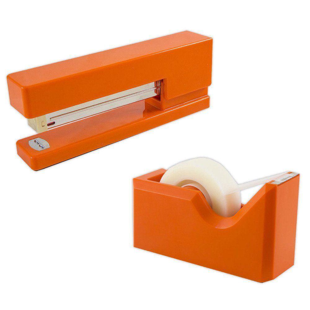 JAM Paper Office & Desk Sets, 1 Stapler & 1 Tape Dispenser, Orange, 2/pack