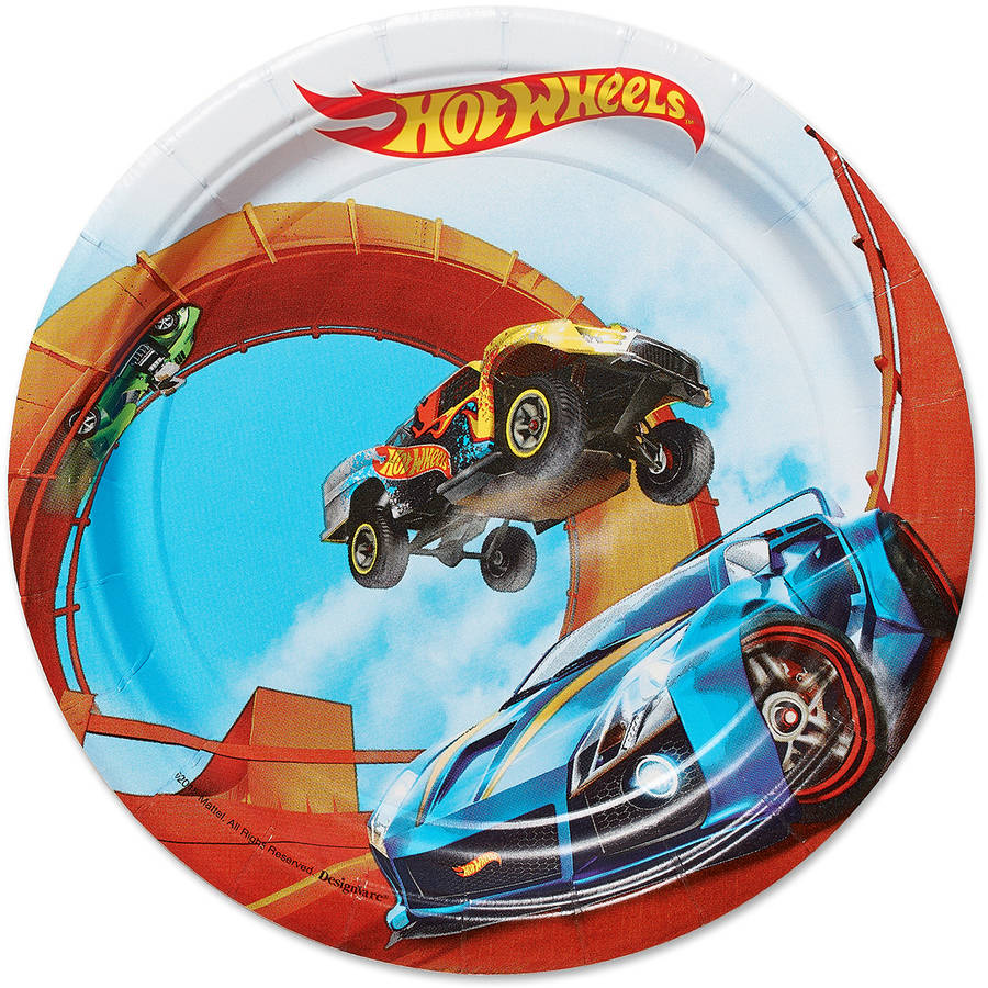 Hot Wheels Party Paper Round Plate, 7 in, 8ct