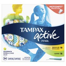 Tampax Pearl Active Duo (Regular and Super) Plastic Tampons, Unscented, 34 Count