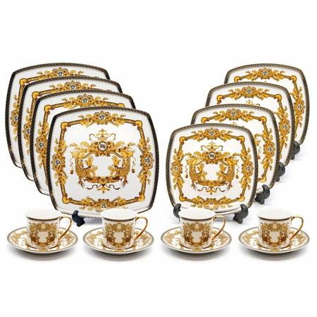 Gold Rim Porcelain - Royalty Porcelain 16-pc Luxury White, Greek Key Dinner Set, 24K Gold Medusa