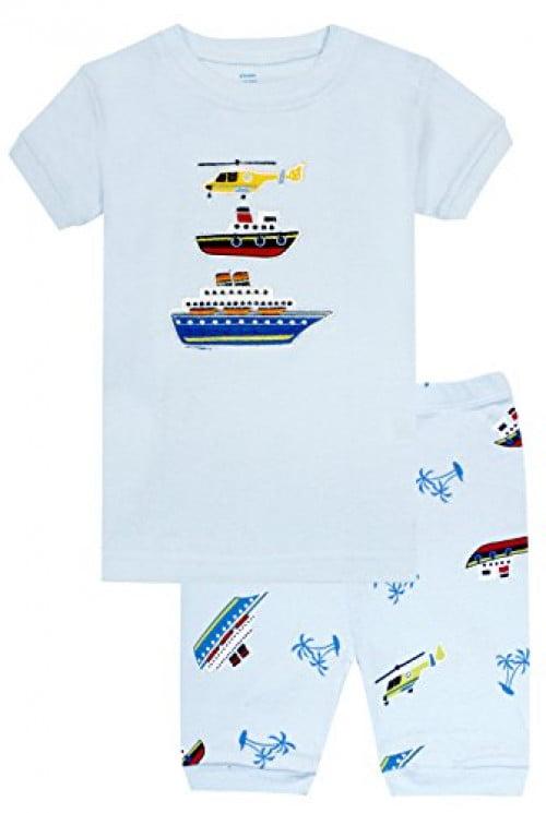 Elowel Boys Short Boat 2 Piece Pajama Set 100% Cotton Size 8