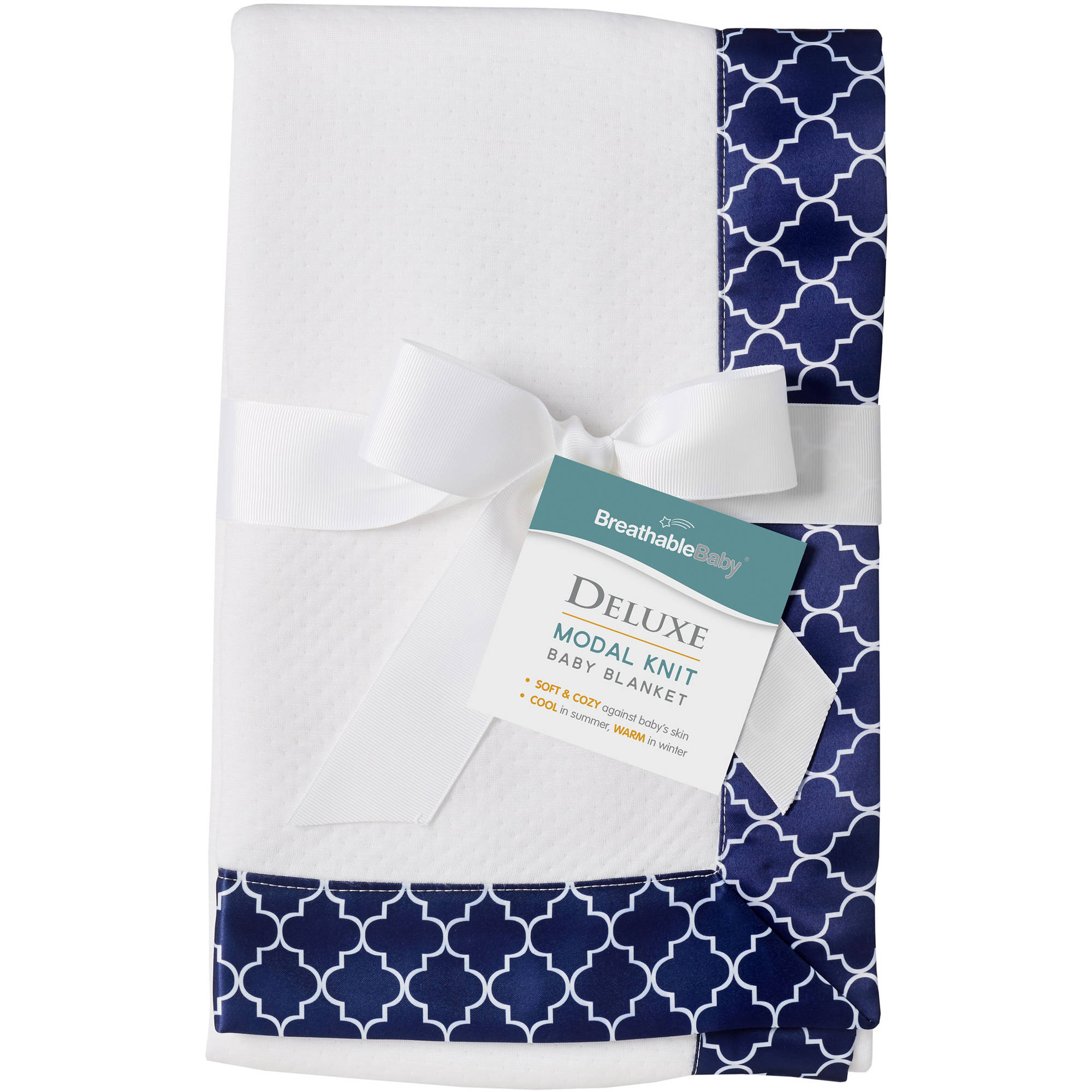 BreathableBaby Moroccan Design, Modal Blanket, Navy