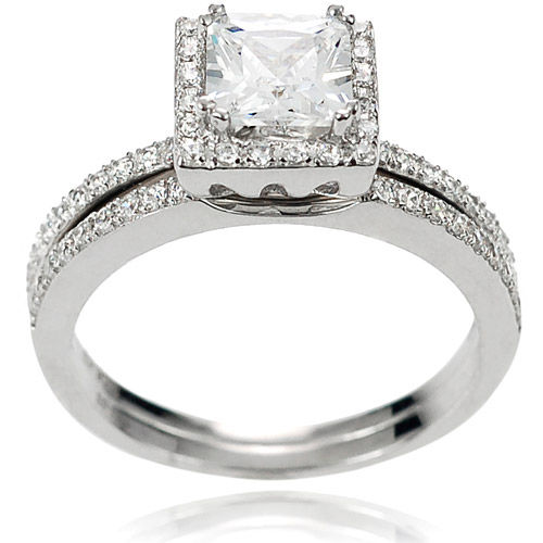 Alexandria Collection Princess-Cut CZ Sterling Silver Bridal Set