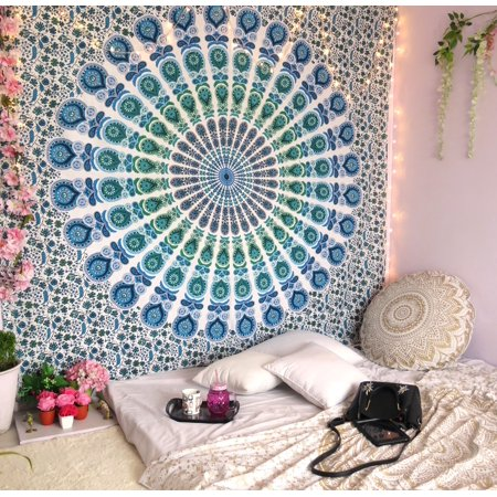Blue Mandala Tapestry Indian Wall Hanging Decor Bohemian Hippie Queen Bedspread Throw Peacock Tapestries Online