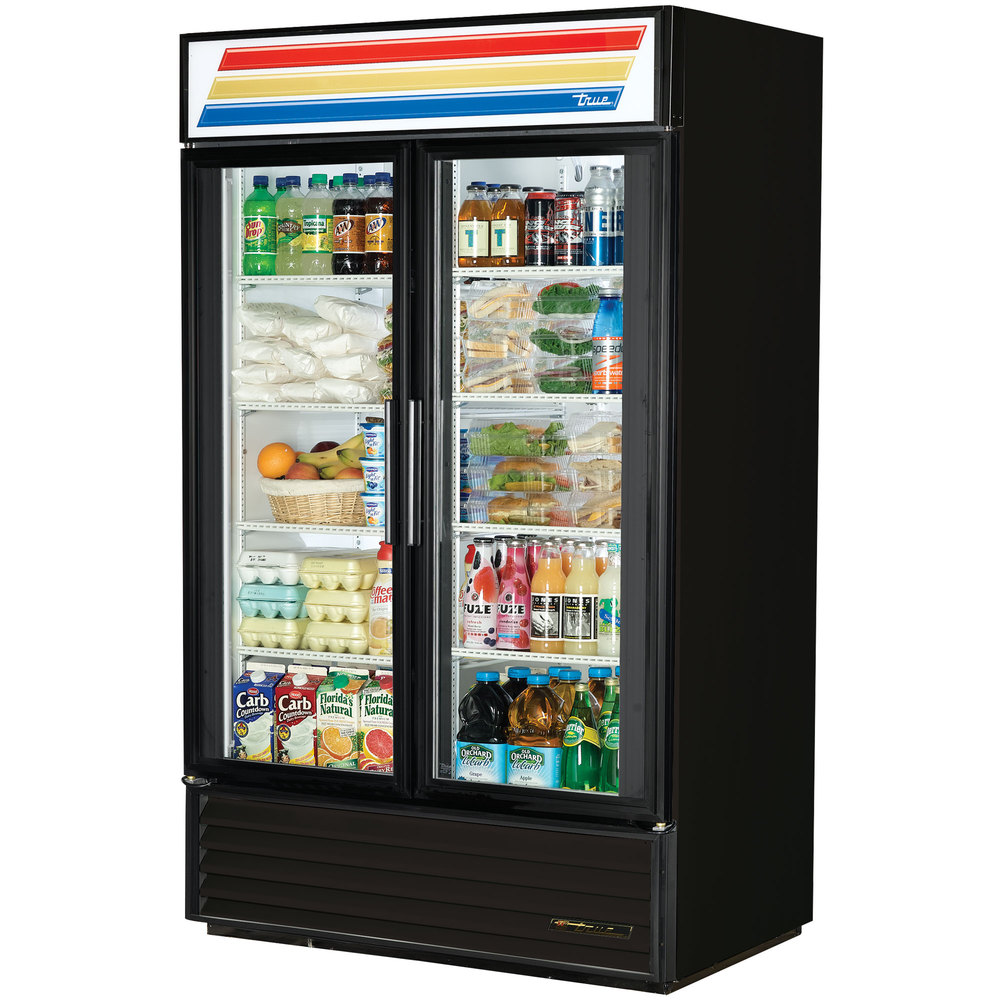 "True GDM-43-LD - 47"" Black Two Door Refrigerated Merchand..."