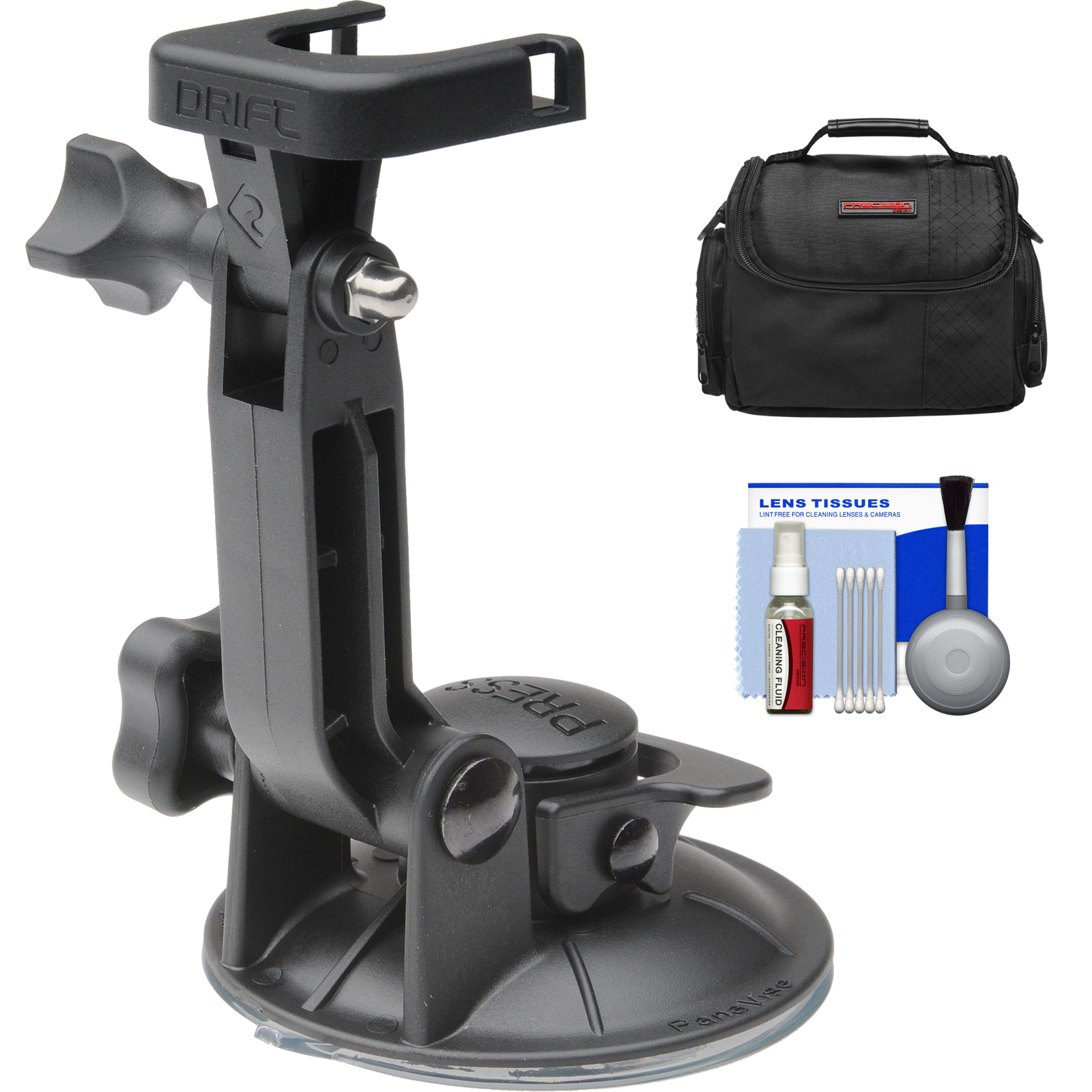 Drift Innovation Suction Cup Mount with Case + Cleaning Kit for Drift HD, HD 170, Ghost, Ghost-S Action Camcorders