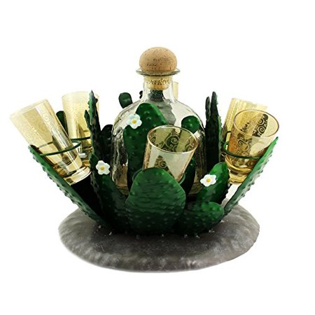 Atlantic Collectibles Cactus Whisky Liquor Hand Made Metal Bottle And Shot Glass Holder Figurine 8.25
