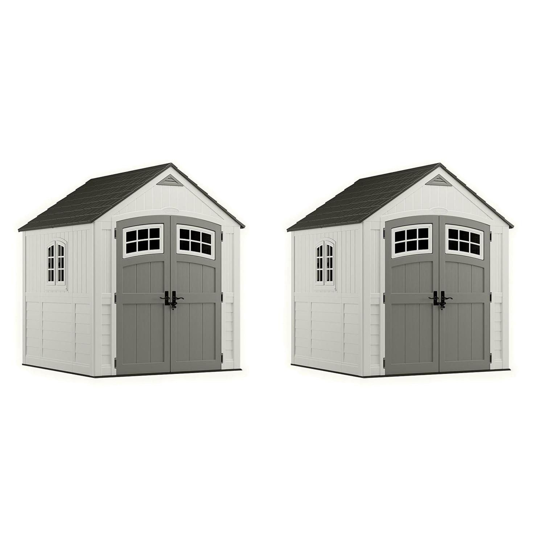 Suncast 7' x 7' Double-Wall Decorative Cascade Storage Shed, Vanilla (2 Pack)
