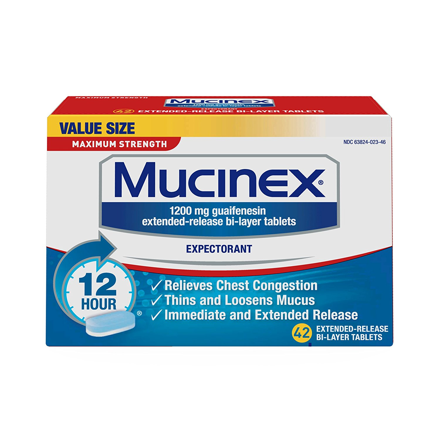 Mucinex Maximum Strength 12 Hour Chest Congestion Expectorant Relief Tablets, 1200 mg, 42 Count, Thins & Loosens Mucus