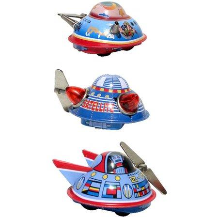 Alexander Taron Collectible 3 Piece Decorative Tin Toy Space Ships Set