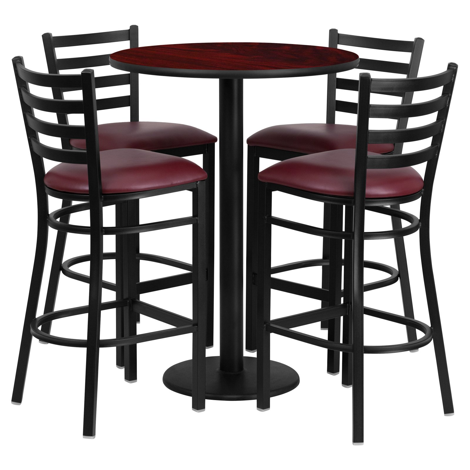 Flash Furniture 30'' Round Mahogany Laminate Table Set with 4 Ladder Back Metal Barstools, Burgundy Vinyl Seat