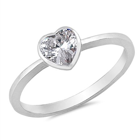 simple solitaire clear cz heart promise ring sizes 2 3 4. Black Bedroom Furniture Sets. Home Design Ideas