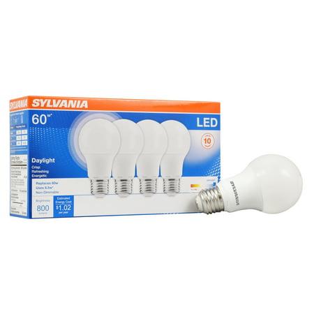 Sylvania LED Light Bulb, 60W Equivalent, A19, Daylight 5000K, 4 Pack