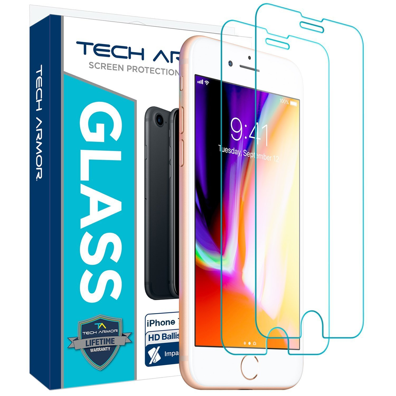Tech Armor Apple iPhone 7, iPhone 6, iPhone 8 Ballistic Glass Screen Protector [2-Pack]