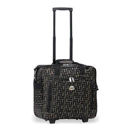 "16""Computer/laptop Ipad Bag Rolling Shoulder Travel Case Carryon Wheel Coffee"