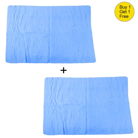 Buy 1 Get 1 Free l Car Cleaning Tool 65cm x 43cm Furniture Glass Blue Faux Chamois Water Absorb Clean Towel 2 Pcs