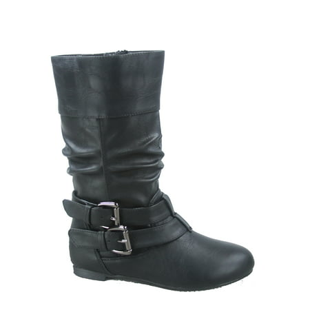 Youth's Girls' Kid's Causal Round Toe Buckles Flat Heel Zip Mid Calf Riding School Boots Shoes ()