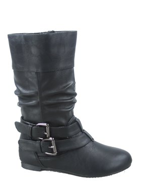 204728ce2091 Product Image Youth s Girls  Kid s Causal Round Toe Buckles Flat Heel Zip  Mid Calf Riding School Boots