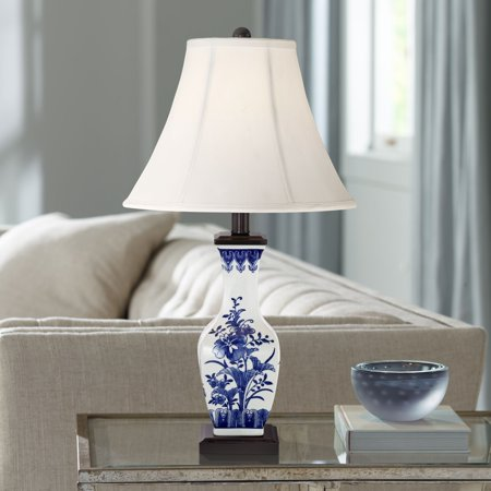 barnes and ivy asian accent table lamp ceramic blue floral vase white bell shade for living room family bedroom bedside nightstand