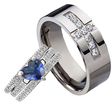 His and Hers 2.6Carats Heart Blue Cubic Zirconia Sterling Silver 4 Pcs Black Titanium CZ Ring Set