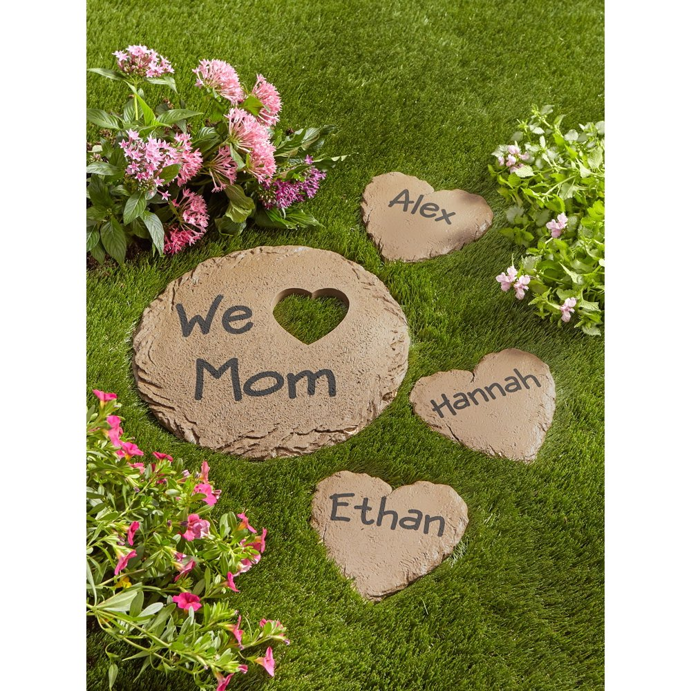 """Personalized Garden Heart and 12"""" Circle Stepping Stone"""